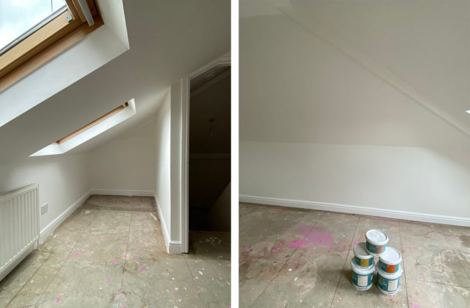 before image of loft bedroom with white walls