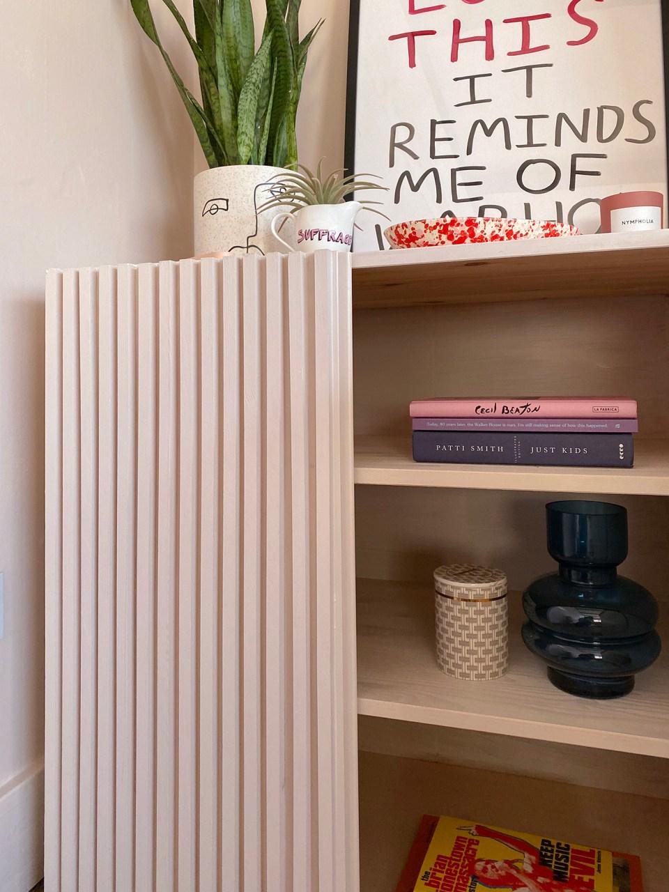 Fluted wood DIY cabinet IKEA hack