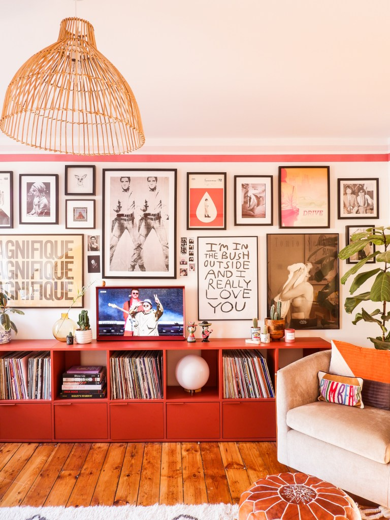 mid-century living room in rented accommodation