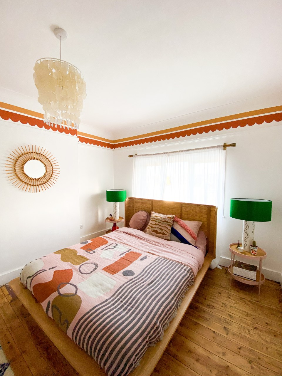 warm pink and orange boho bedroom