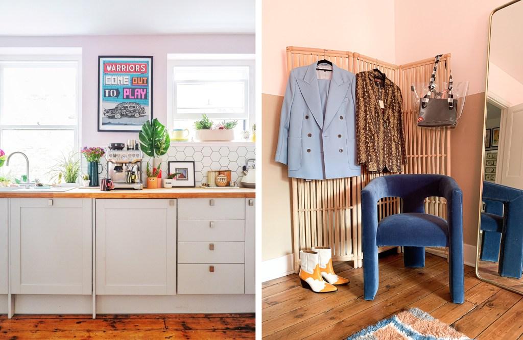 pink kitchen and boho bedroom