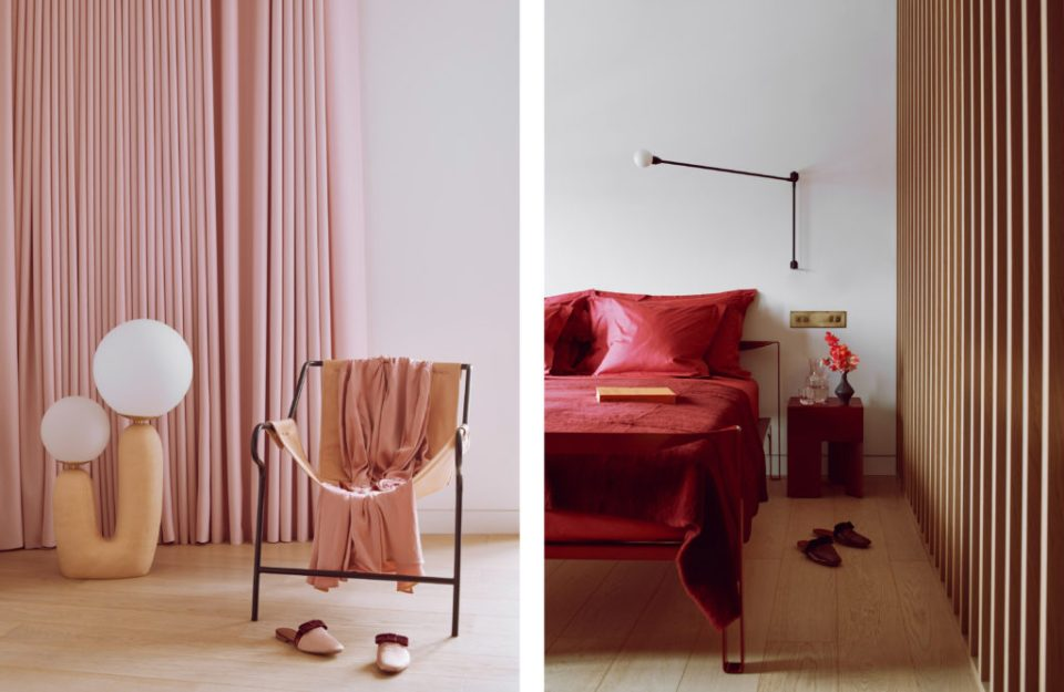 master bedroom with pink curtains and wood panel wall