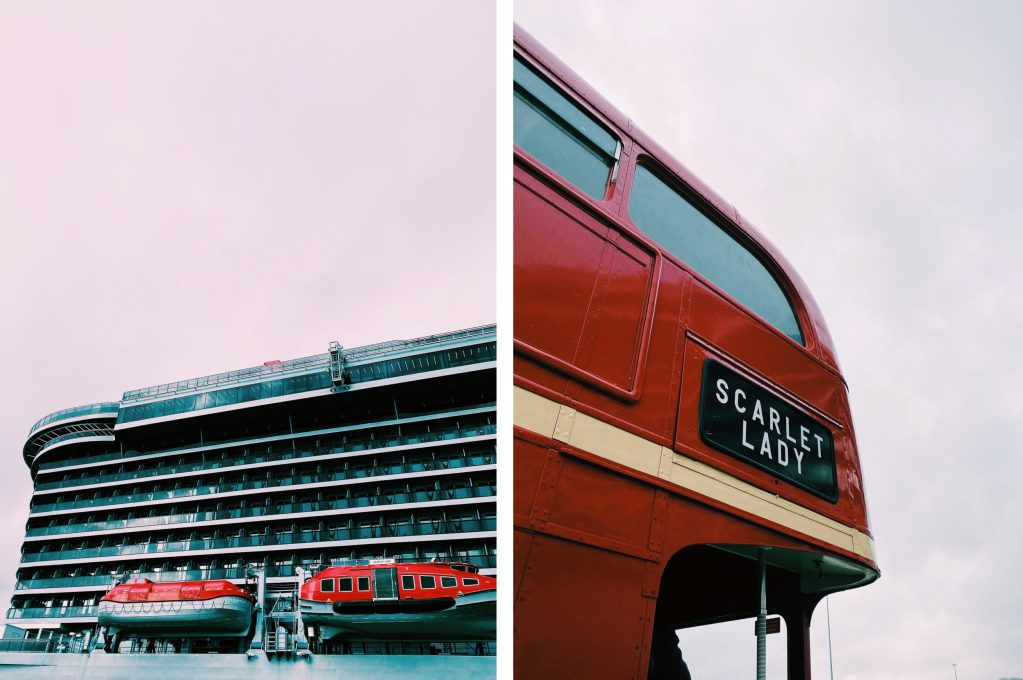 virgin voyages cruise and scarlet lady red bus