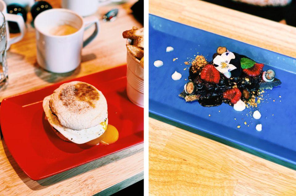vegan sausage and egg muffin and vegan cheesecake
