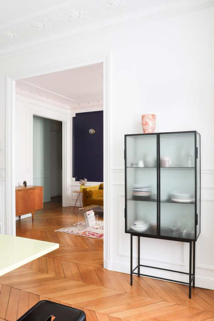 fluted storage in white living space