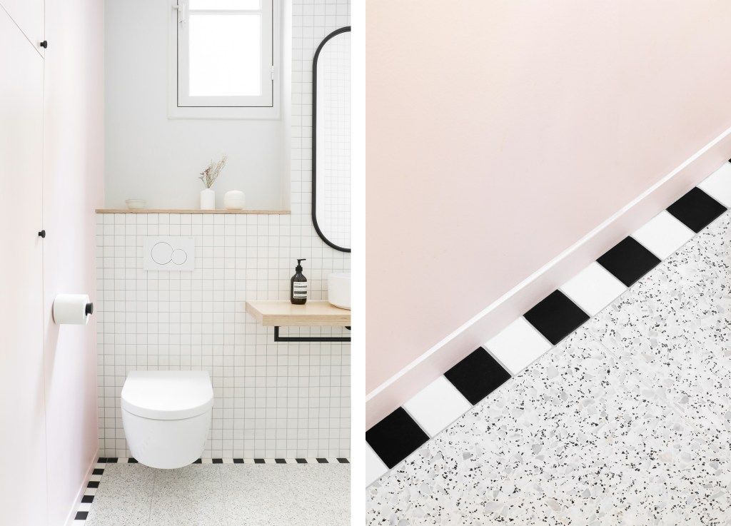 minimal pink and white bathroom with terrazzo flooring