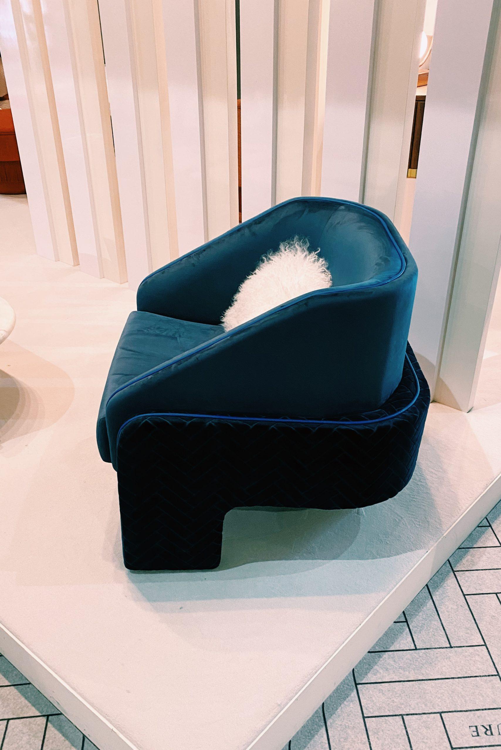 blue statement armchair