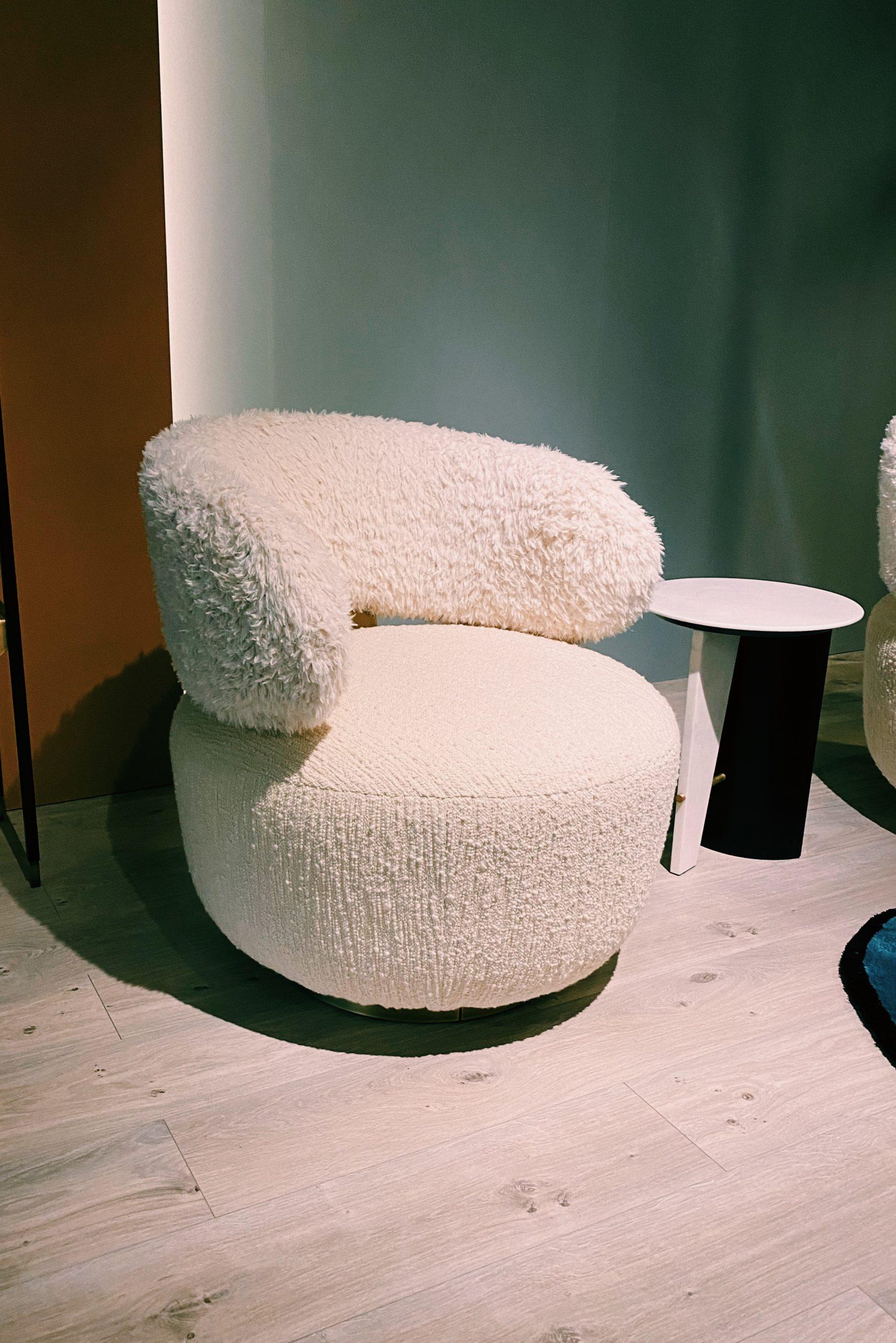 fluffy sheepskin statement armchair