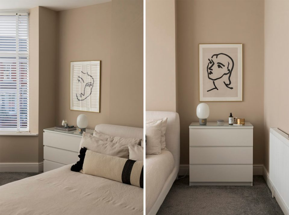 minimal taupe bedroom with line drawing