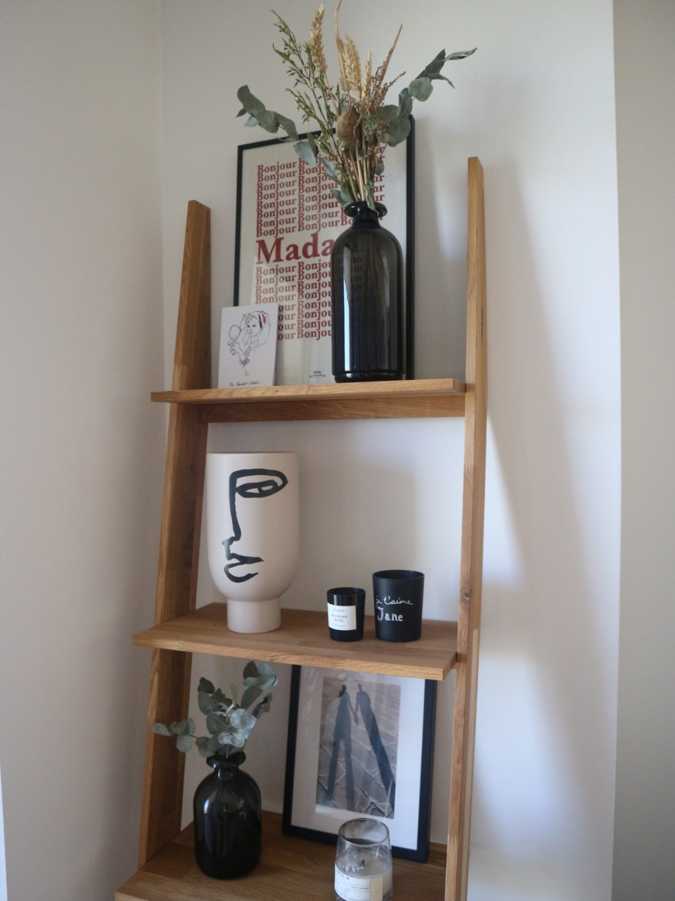 styled ladder shelf