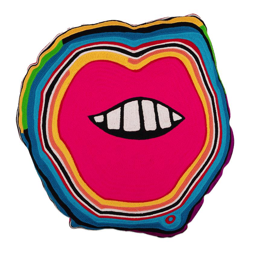 multi-coloured lips cushion