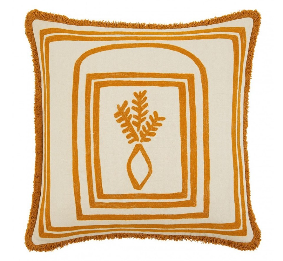 ochre cushion with Californian motif