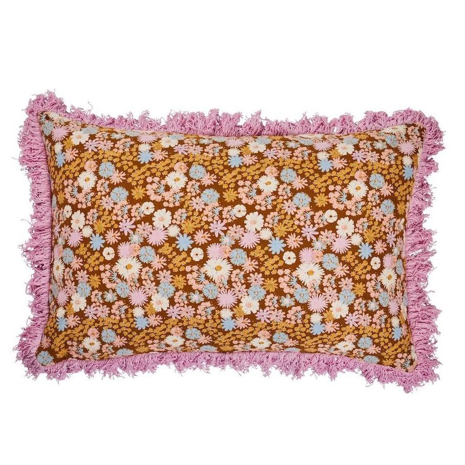 retro floral cushion with fringing