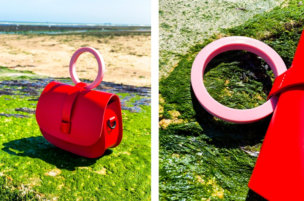 red and pink hoopla! bag on seaweed