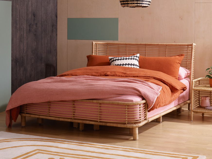 Retro style rattan bed with headboard and footboard