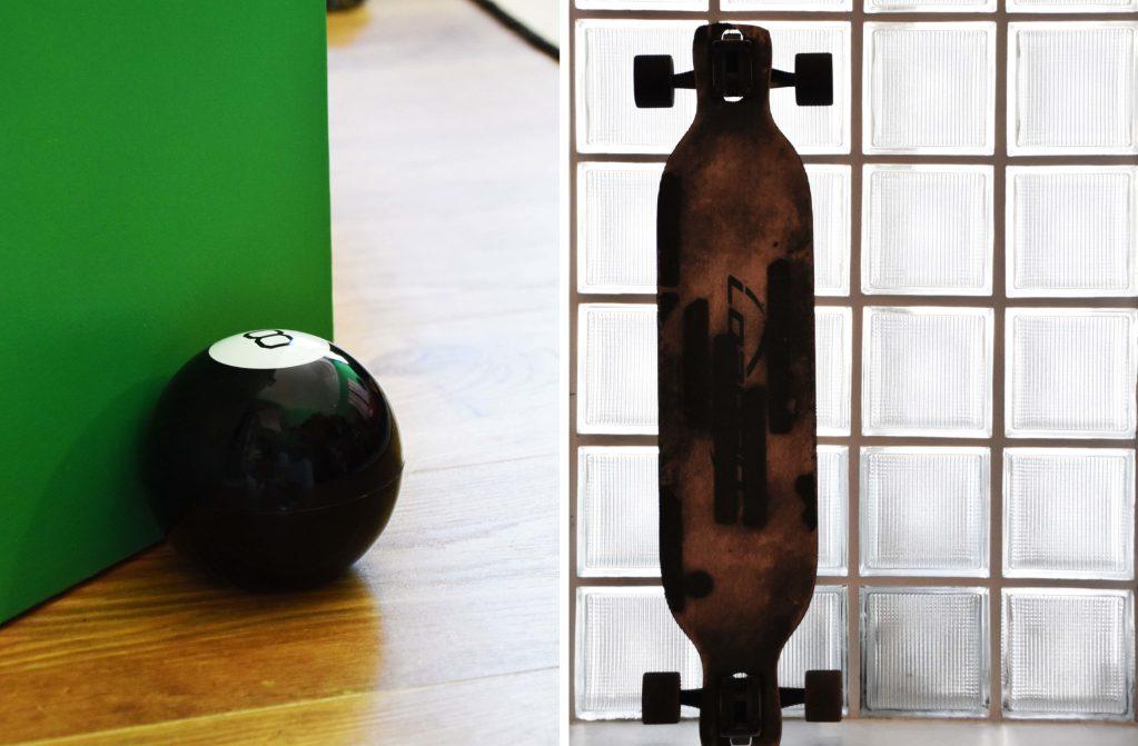 eight ball and skateboard design details