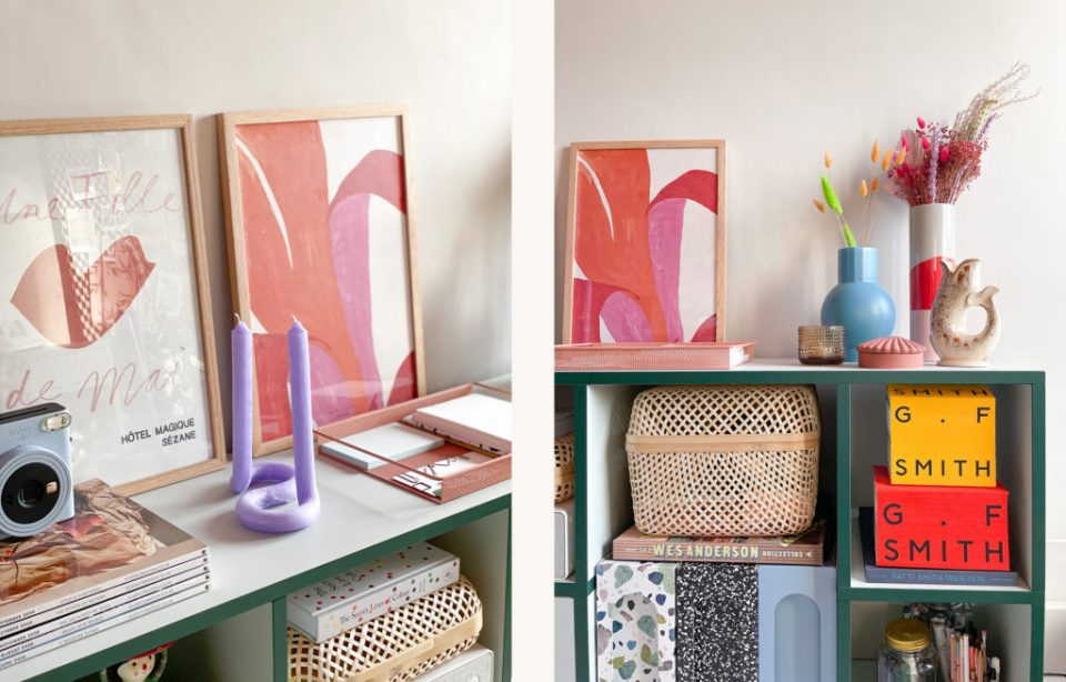 collection of earthy decor with pink artwork
