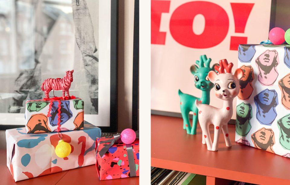 pop art christmas presents and kitsch deer