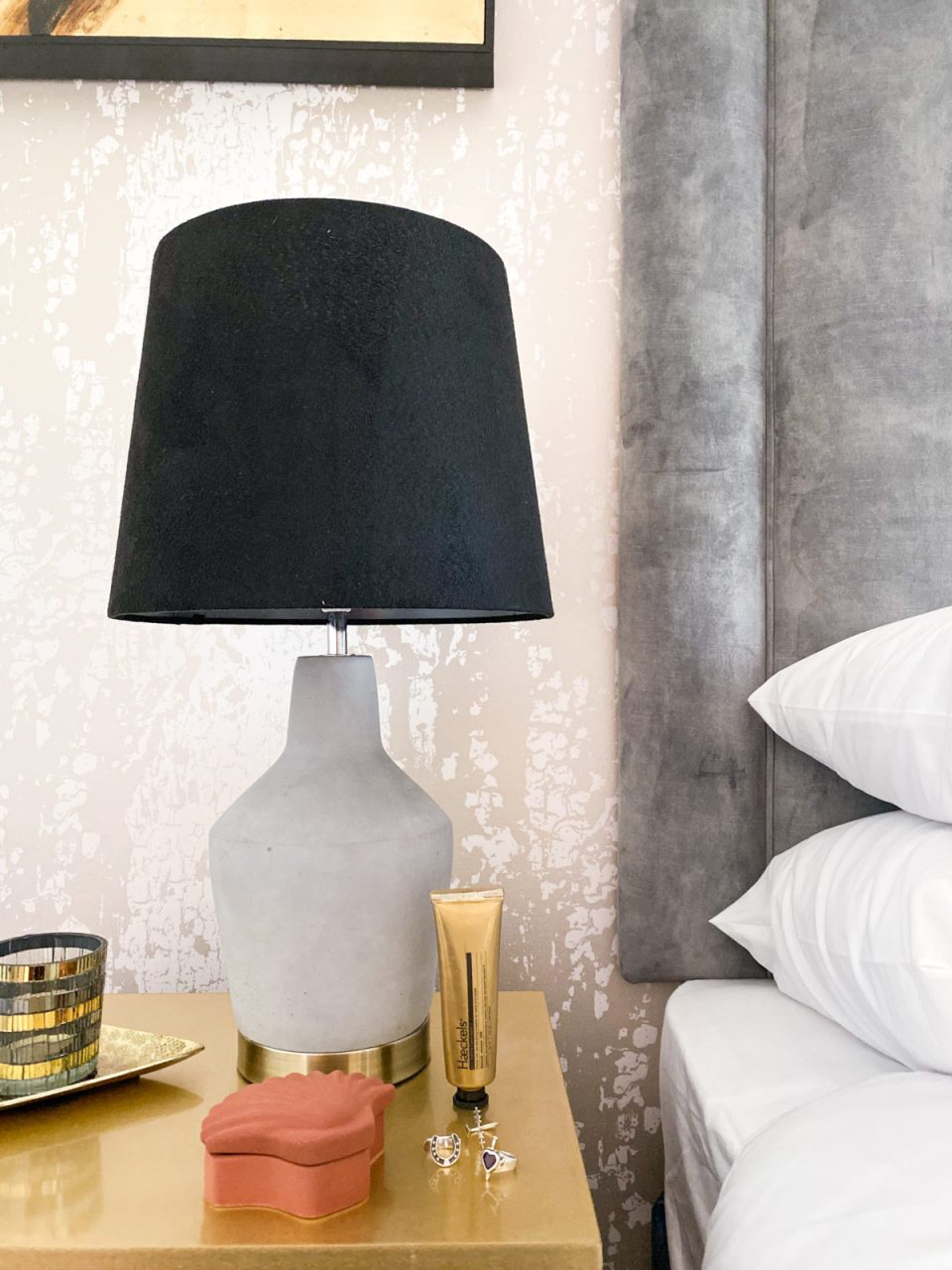 concrete bedside table lamp with shell jewellery box