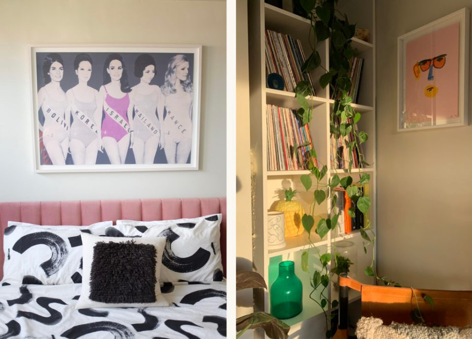guest bedroom with vinyl shelving