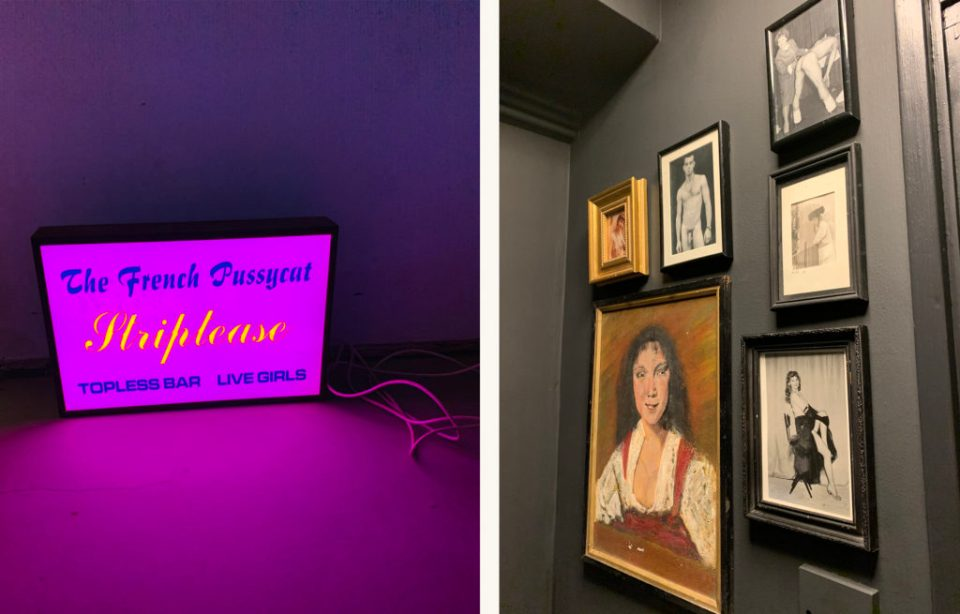 neon light and dark gallery wall in ex-council flat