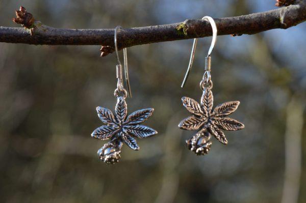 horse chestnut leaf earrings (drop) - emma keating jewellery