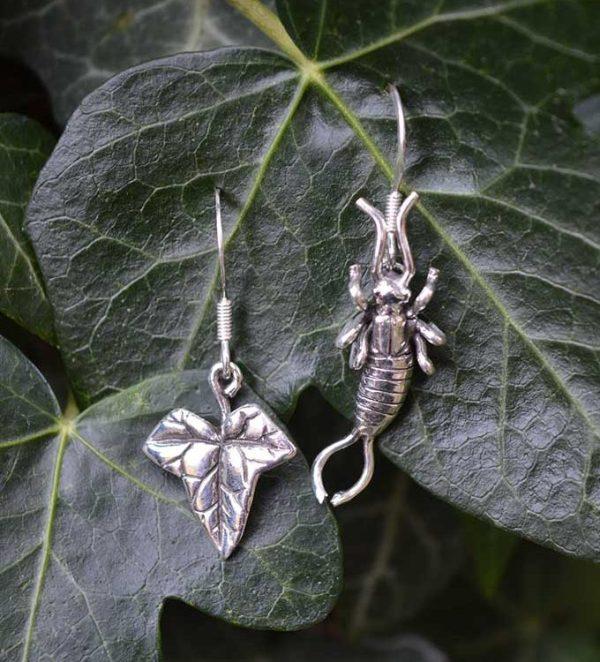 Earwig & Ivy Leaf Earrings - Emma Keating Jewellery