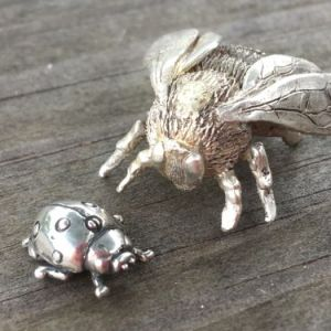 (unpolished) Queen Bumblebee Ornament and ladybird