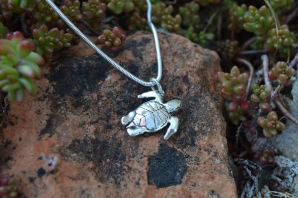 Mini Turtle Pendant underside s - Emma Keating Jewellery