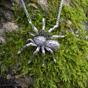 Pumpkin Patch Tarantula necklace, sideways facing, modelled in Sterling Silver by Emma Keating