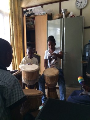 Playing with drums at the clinic