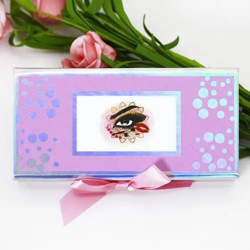 wholesale cute pink eyelash box with holographic circle and bow