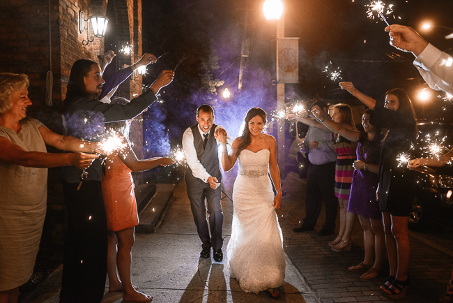 sparkler grand exit | photo: Photos by Kristopher | via http://emmalinebride.com