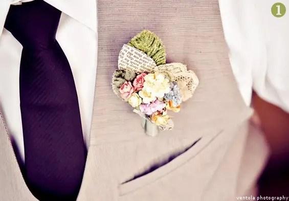 wedding boutonniere mignonne handmade
