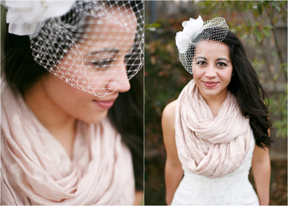 bride with birdcage veil pashmina