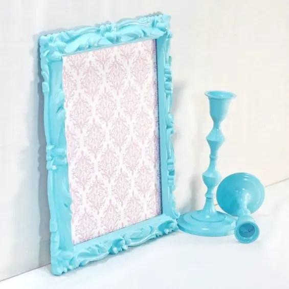 aqua ornate picture frame