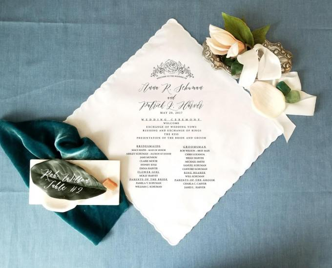handkerchief wedding invitations and programs
