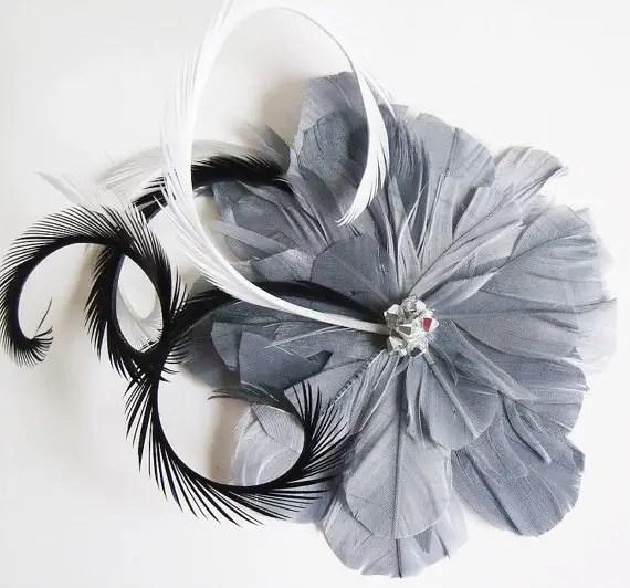 colorful bridal fascinators - gray hair flower with rhinestones
