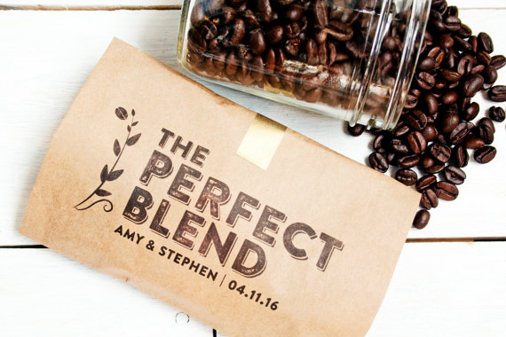 the perfect blend coffee favor bags