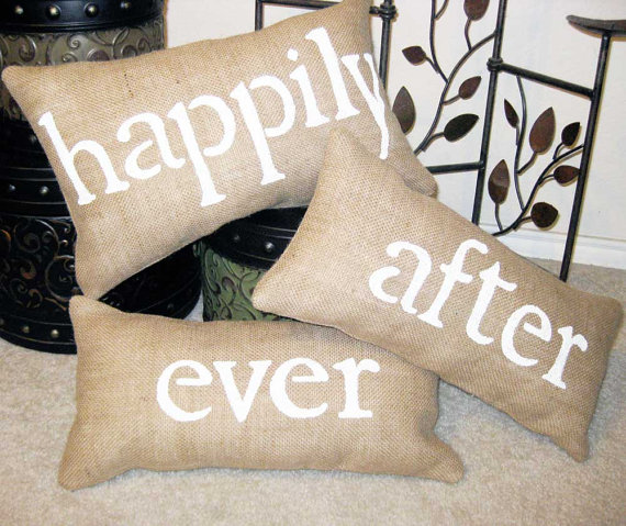 happily ever after burlap wedding pillows