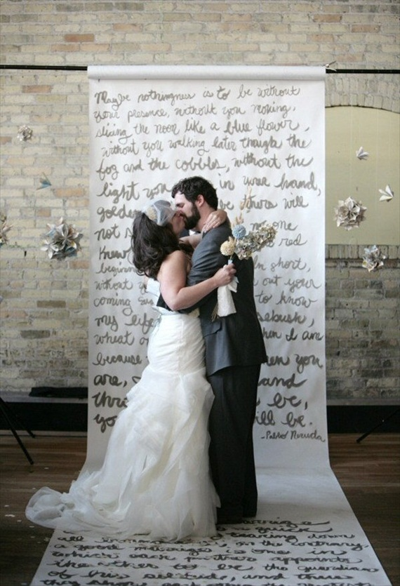 ceremony backdrops - words written on paper roll