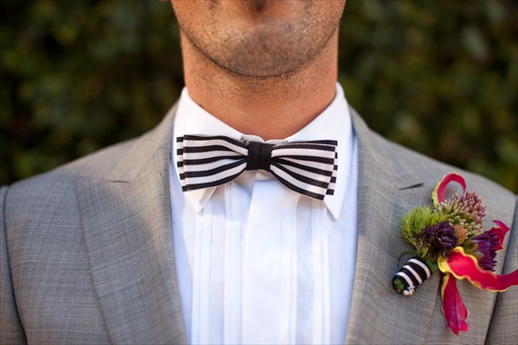 groom bow tie with black and white stripes