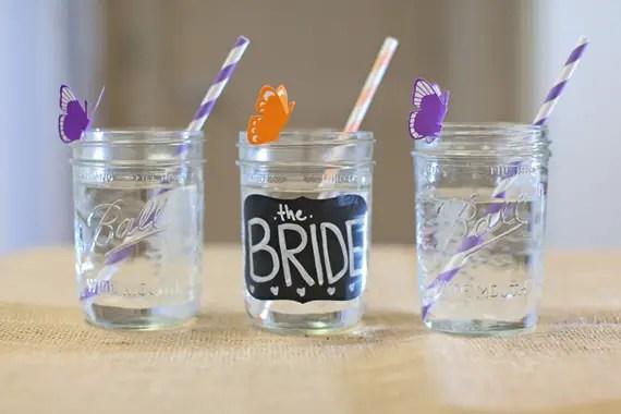 rustic bridal shower mason jar drinking glasses