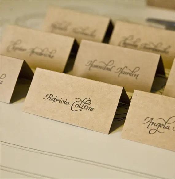 Creative Wedding Place Card Ideas: Wedding Calligraphy Ideas - Handmade Wedding