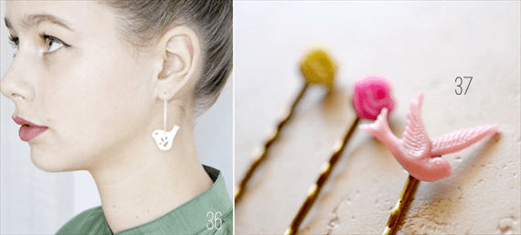 bird earrings and hairpins
