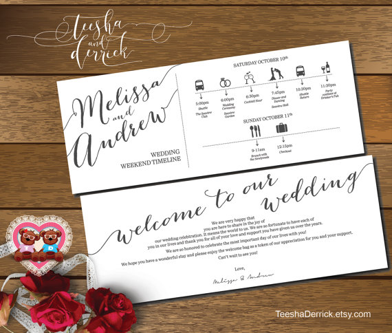 wedding itinerary by teeshaderrick