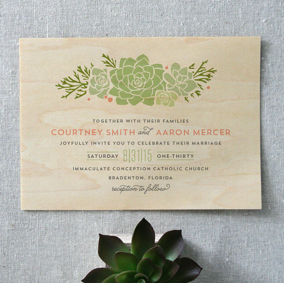 boho-succulent-wooden-wedding-invitation