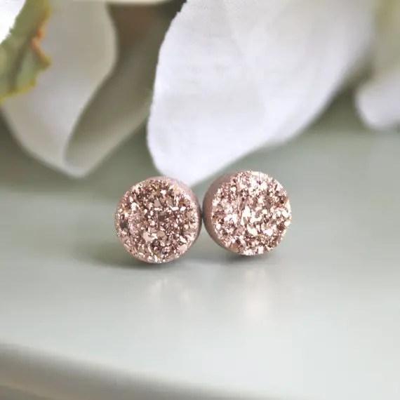rose gold druzy earrings by ava hope designs