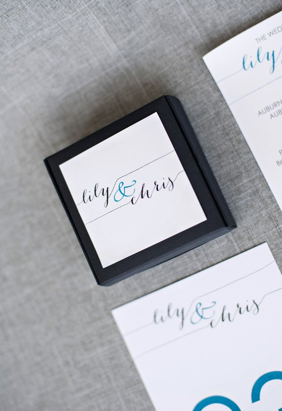 black and teal wedding favor boxes