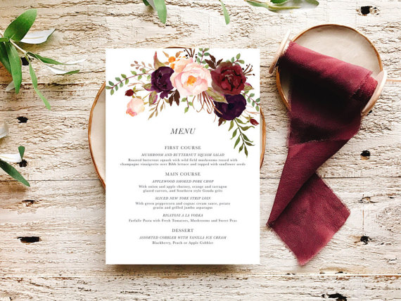 Marsala Wedding Menu | by Betty Lu Paperie